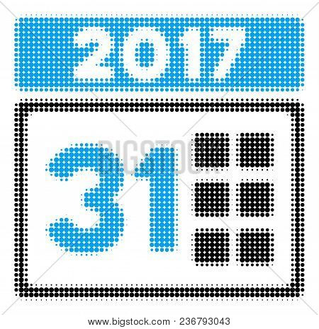 2017 Year Last Month Day Halftone Vector Pictogram. Illustration Style Is Dotted Iconic 2017 Year La