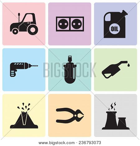 Set Of 9 Simple Editable Icons Such As Fabric Steam, Nipper, Volcano, Pump, Gas Can, Drill, Oil Cont