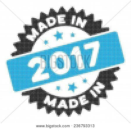 Made In 2017 Stamp Halftone Vector Icon. Illustration Style Is Dotted Iconic Made In 2017 Stamp Icon