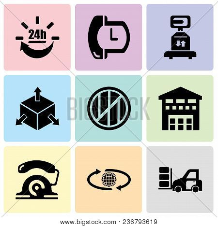 Set Of 9 Simple Editable Icons Such As Packages Transportation On A Truck, International Delivery, T