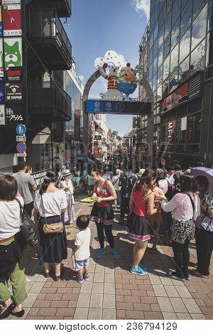 Tokyo Japan - September12,2015 : Large Number Of Tourist Walking In Takeshita Street Most Popular Tr