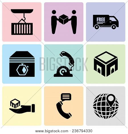 Set Of 9 Simple Editable Icons Such As International Delivery, Talking By Phone Auricular, Package D