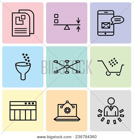 Set Of 9 Simple Editable Icons Such As User Data Analytics, Laptop Analysis, Table For Data, Cart Gr