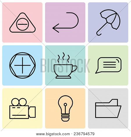 Set Of 9 Simple Editable Icons Such As File Folder, Light Bulb, Video Camera, Speech Bubble, Cup Of