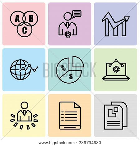 Set Of 9 Simple Editable Icons Such As Data Page, User Warning, User Data Analytics, Laptop Analysis