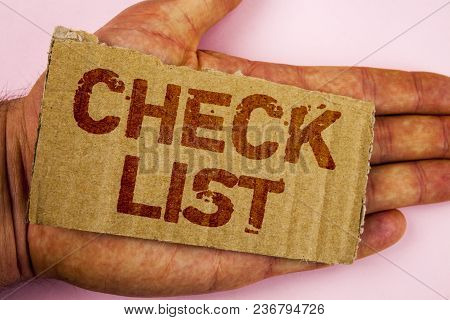Conceptual Hand Writing Showing Check List. Business Photo Showcasing Items Required Things To Be Do