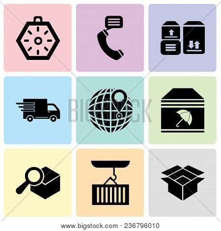 Set Of 9 Simple Editable Icons Such As Package For Delivery, Container Hanging Of A Crane, Search De