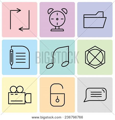 Set Of 9 Simple Editable Icons Such As Speech Bubble, Locked Padlock, Video Camera, Arrow Pointing T