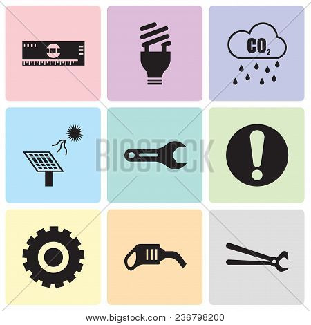 Set Of 9 Simple Editable Icons Such As Nippers, Pump, Setting, Exclamation, Pipe Wrench, Solar Batte