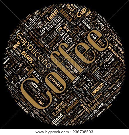 Conceptual creative hot morning italian coffee break cappuccino or espresso restaurant or cafeteria round circle red beverage word cloud isolated. A splash of energy or taste drink concept text