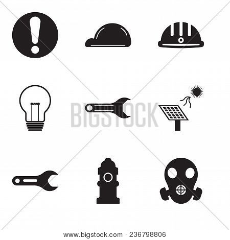 Set Of 9 Simple Editable Icons Such As Respirator, Fire Hydrant, Pipe Wrench, Solar Battery, Adjusta