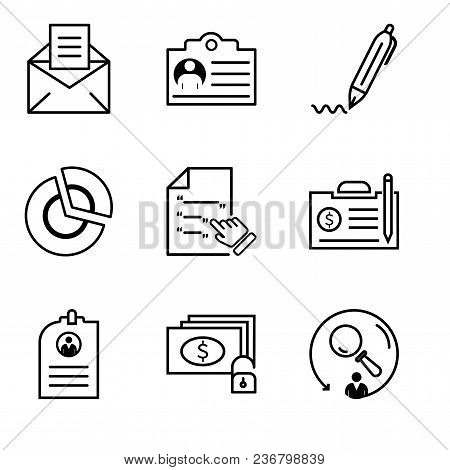 Set Of 9 Simple Editable Icons Such As Searching, Money And Key, Cv, Contract, Contract, Pie Chart,