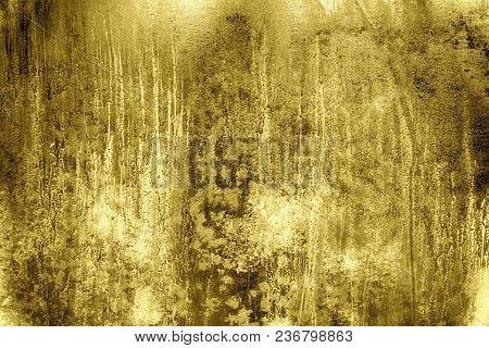 Ultra Yellow Tin Texture, Steel Wall Surface Or Metallic Aluminium Background.