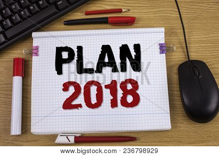 Handwriting Text Writing Plan 2018. Concept Meaning Challenging Ideas Goals For New Year Motivation