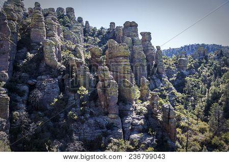 Rhyolite Canyon From The Hailstone Hiking Trail Among Hoodoos And Rock Pillars At Chiricahua Nationa
