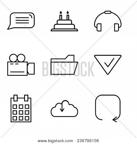 Set Of 9 Simple Editable Icons Such As Update Arrow, Download From The Cloud, Calendar With Day 5, C