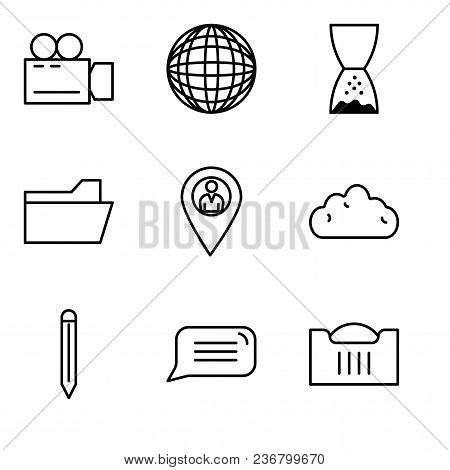 Set Of 9 Simple Editable Icons Such As Shopping Basket, Speech Bubble, Edit Tool, Cloud, Location Po