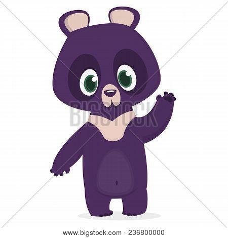 Funny Cartoon Himalayan Bear Waving Hand. Vector Illustration Of A Bear Character