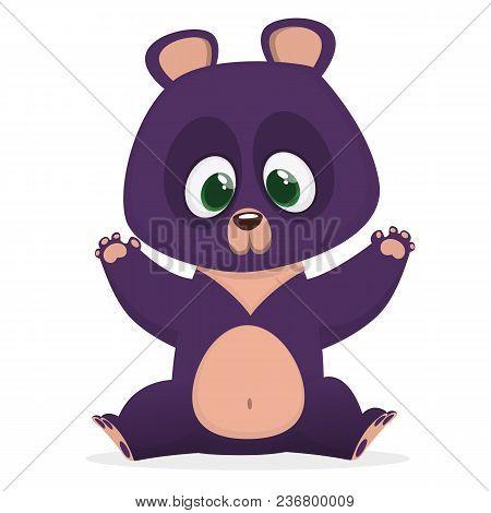 Funny Cartoon Himalayan Bear Giving A Hug. Vector Illustration Of A Bear Character