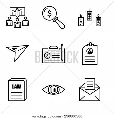 Set Of 9 Simple Editable Icons Such As Email, Analytic View, Law Book, Cv, Contract, Plane, Folder,