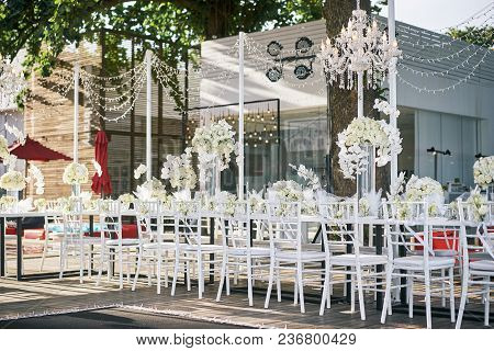 Samui Island / Thailand - July 16, 2016: The Wedding Reception Dinner Venue Setup With The White Flo