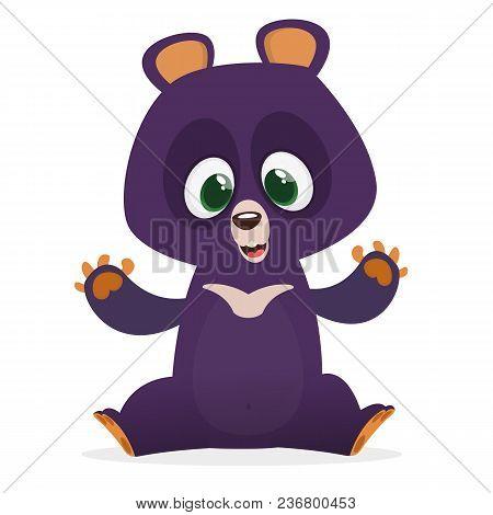Funny Himalayan Bear Cartoon. Vector Illustration For Children Book