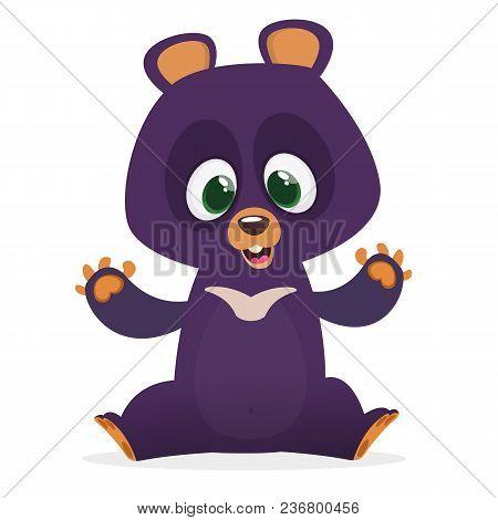 Himalayan Bear Cartoon. Big Collection Of Cartoon Forest Animals. Vector Illustration For Children B