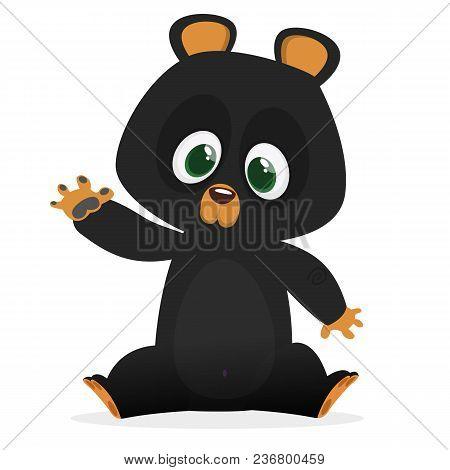 Cartoon Cute Himalayan Black Bear Baby. Big Collection Of Cartoon Forest Animals. Vector Illustratio