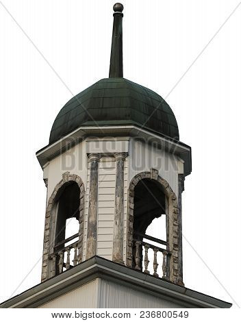 Architecture Of A Tower With A Tiny Bell Tower Balcony And Railings, Isolated.