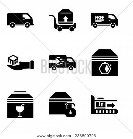 Set Of 9 Simple Editable Icons Such As Package On Rolling Transport, Locked Package, Delivery Packag