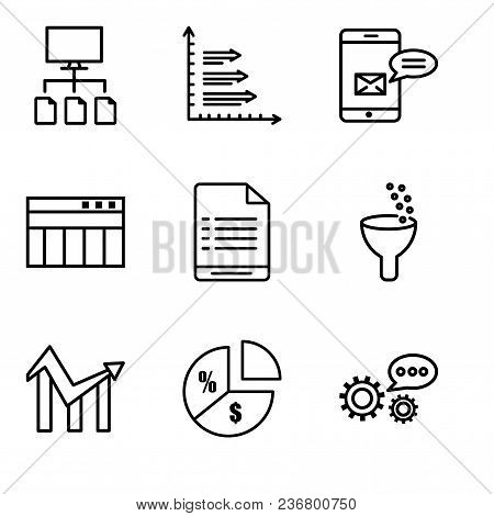 Set Of 9 Simple Editable Icons Such As 3d Data Analytics, Pie Chart Information On Money, Chart, Dat