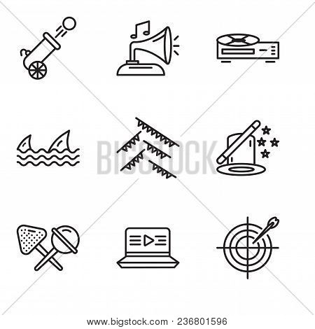 Set Of 9 Simple Editable Icons Such As Darts, Movie, Candy, Magic, Garland, Sharks, Video Recorder,