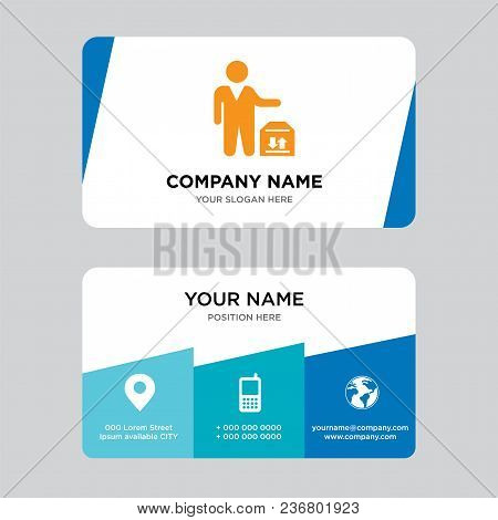 Man Standing With Delivery Box Business Card Design Template, Visiting For Your Company, Modern Crea