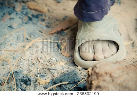 The Foot Of Old Man Farmer On Rural Of Thailand