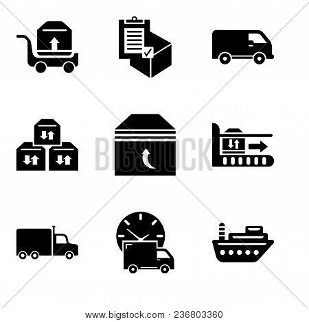 Set Of 9 Simple Editable Icons Such As Sea Ship, Logistics Delivery Truck And Clock, Frontal Truck,