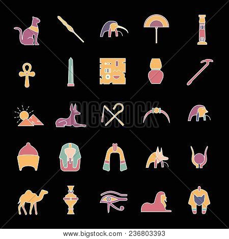 Egypt Cartoon Icons Set. Vector Illustration With Egypt Object With Pharaon, Mummy And Camel Isolate