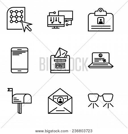Set Of 9 Simple Editable Icons Such As Ar Glasses, Id And Mail, Mail, Laptop And Mail, Post Box, Sma