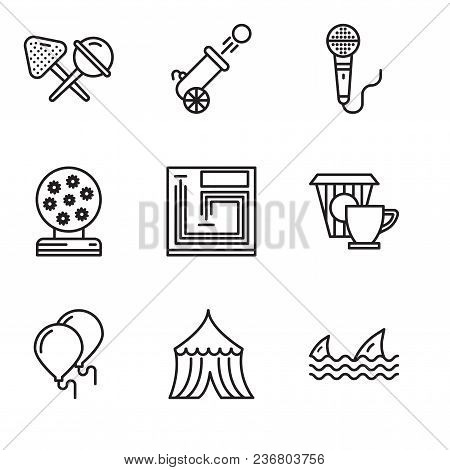 Set Of 9 Simple Editable Icons Such As Sharks, Tent, Balloons, Coffee, Board Game, Magic Ball, Micro
