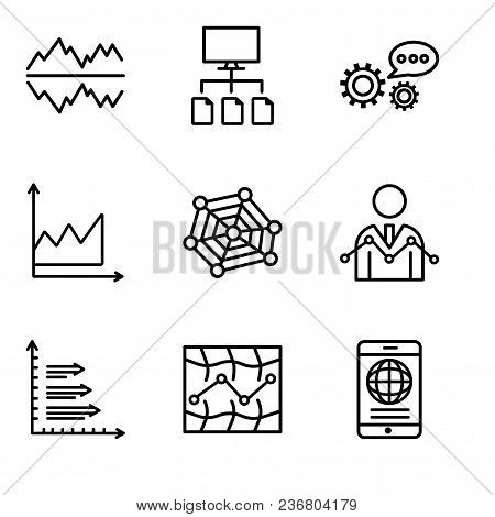 Set Of 9 Simple Editable Icons Such As Mobile Phone Globally Connected, Stock, Analytics, Data Analy