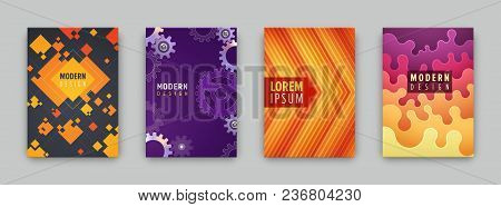 Set Of 4 Covers With Flat Geometric Pattern. Can Be Use For Flyers, Posters, Banners, Etc.