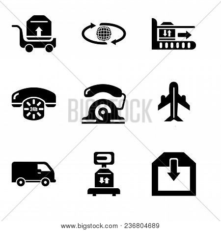 Set Of 9 Simple Editable Icons Such As Delivery Of A Box, Delivery Scale With A Box, Black Delivery