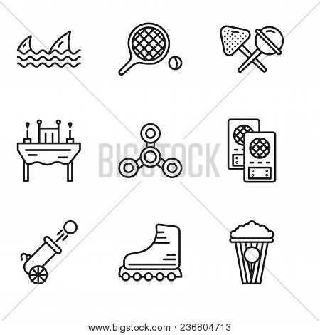 Set Of 9 Simple Editable Icons Such As Popcorn, Rollers, Cannon, Loudspeaker, Drone, Dinner, Candy,