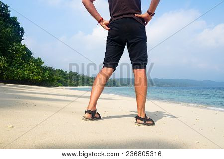 Man Relaxing On Exotic Beach In Seychelles Islands. Man Walking On Beautiful Exotic Beach From Seych