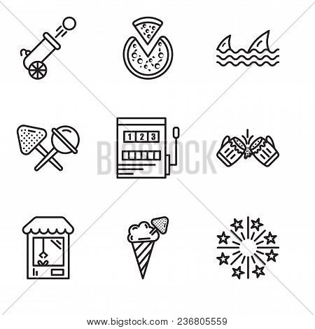 Set Of 9 Simple Editable Icons Such As Fireworks, Ice Cream, Machine, Beer, Gaming, Candy, Sharks, P
