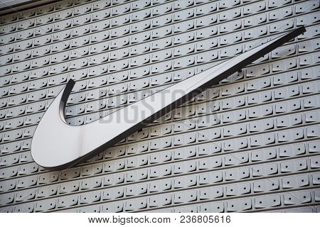 Shenzhen,china - June 24, 2016: Nike Brand Logo. Nike Is A Global Sports Clothes And Running Shoes R