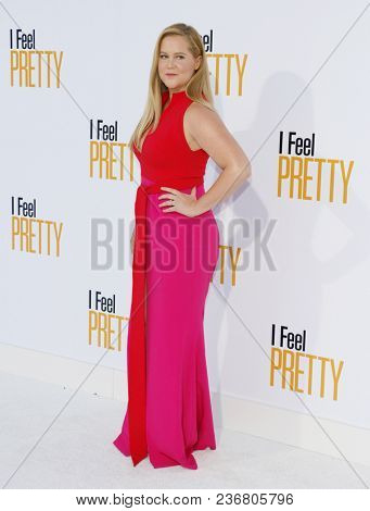 Amy Schumer at the Los Angeles premiere of 'I Feel Pretty' held at the Regency Village Theatre in Westwood, USA on April 17, 2018.