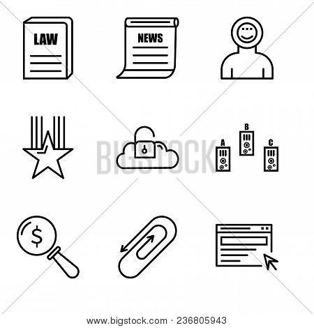 Set Of 9 Simple Editable Icons Such As Search, Clip, Lens, Folder, Key Data, Star, Astronaut, Newspa