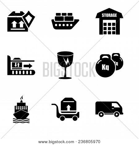 Set Of 9 Simple Editable Icons Such As Black Delivery Small Truck Side View, Package Transportation