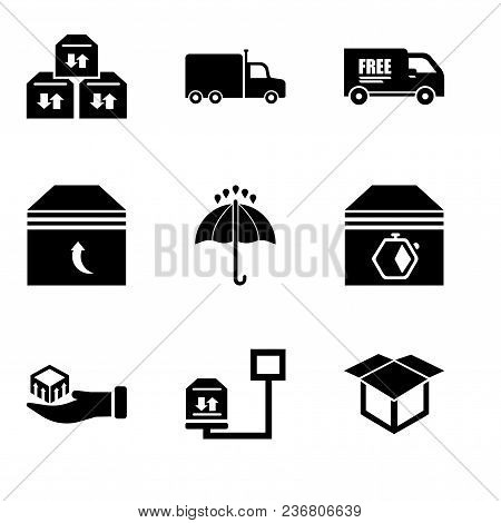 Set Of 9 Simple Editable Icons Such As Delivery Package Opened, Weight Of Delivery Package On A Scal