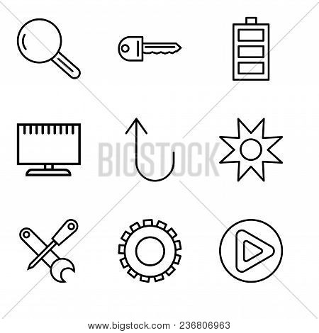Set Of 9 Simple Editable Icons Such As Play Button, Gear, Screwdriver And Wrench, Star, Cancel Butto